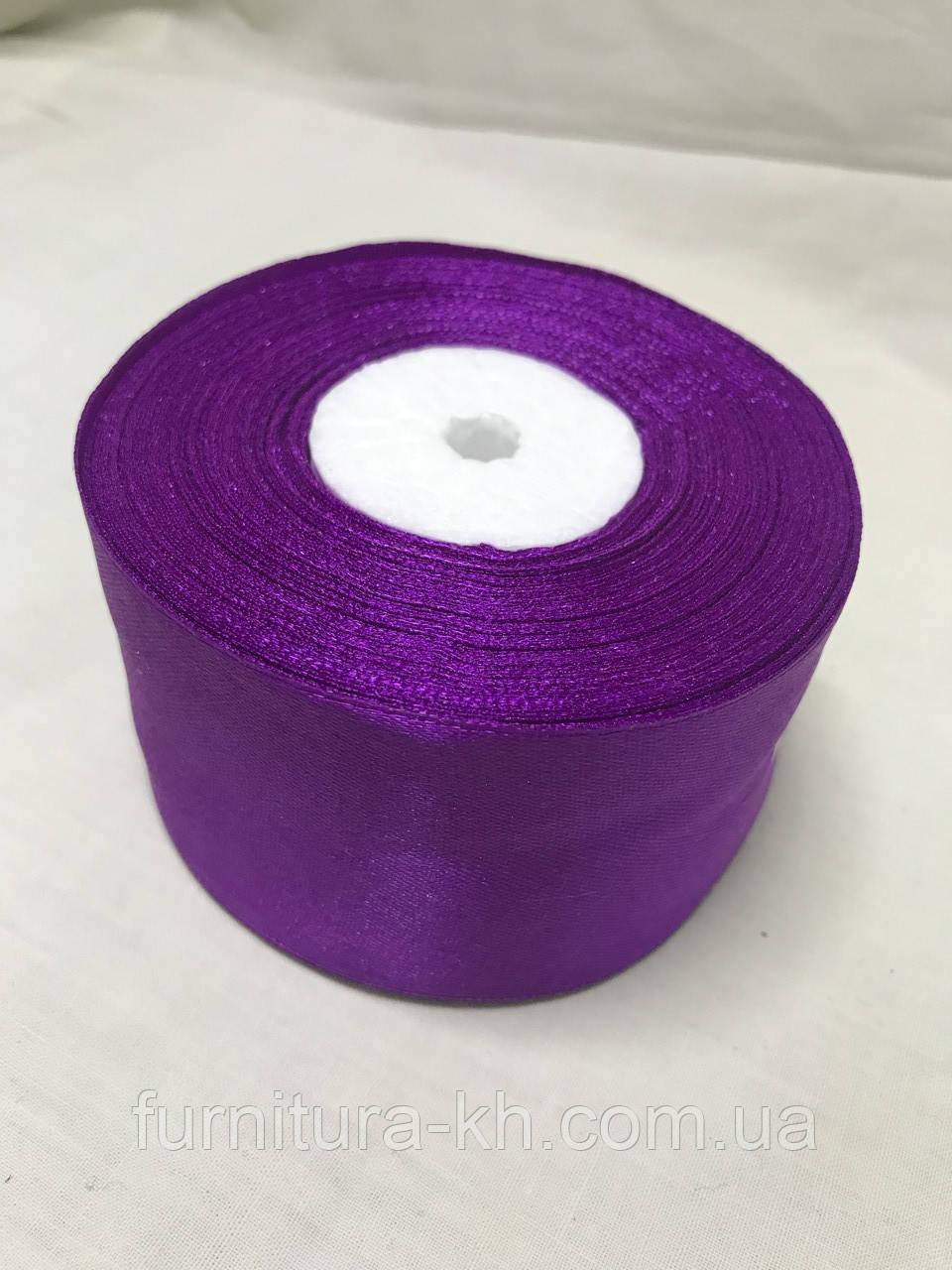 Лента атласная,ширина 5 см  (33 м ) цвет фиолетовый