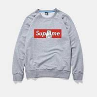 """Свитшот Supreme + Ripndip серый с логотипом,унисекс (мужской,женский,детский) """""""" В стиле RipNDip """""""""""