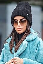 Молодежная вязаная шапка-петушок с отворотом разных цветов, фото 3