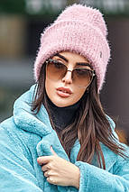 Молодіжна в'язана шапка-півник з відворотом різних кольорів, фото 2