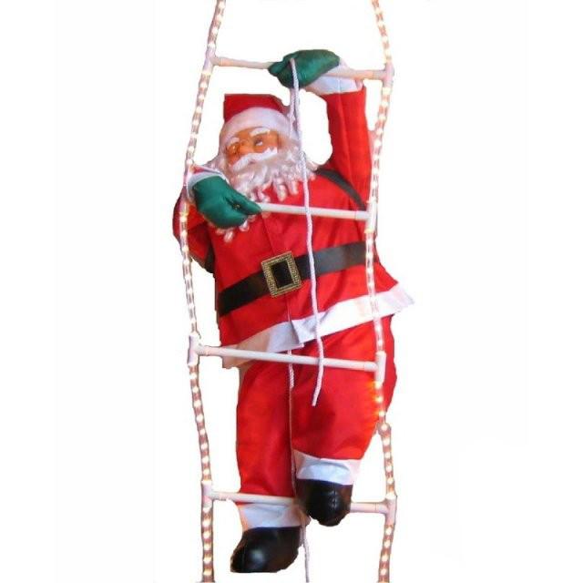 Дед Мороз, Санта Клаус на светящейся лестнице, 60см.