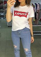"""Футболка женская белая   с принтом  Ливайс Левис  Levis Levis    """""""" В стиле Levi's """""""""""