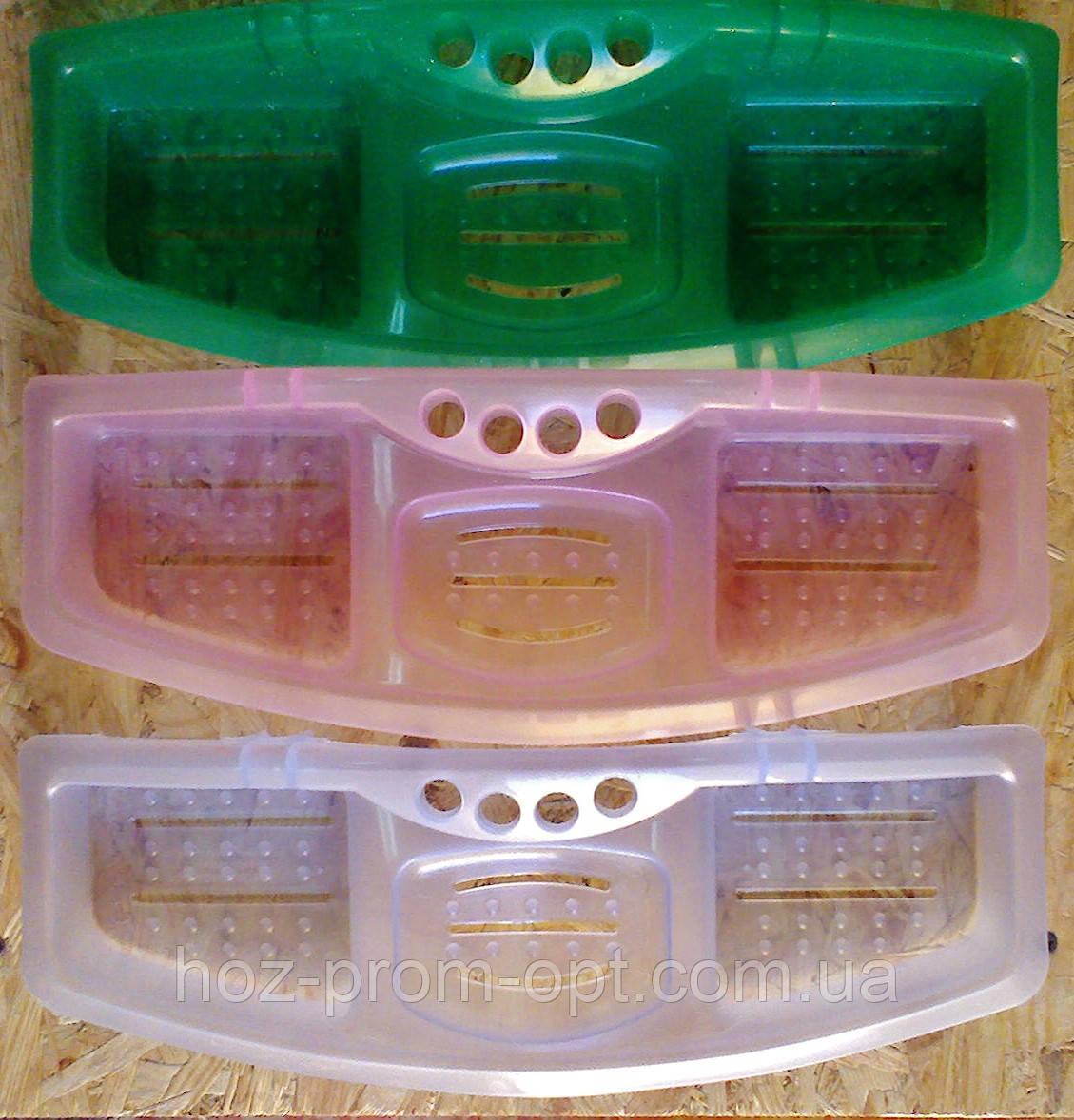 Мыльница  тройная с подставкой для зубных щёток, р-р 380мм*140мм