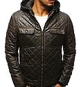 Мужская  зимняя куртка с капюшоном эко-кожа Хаки, фото 2