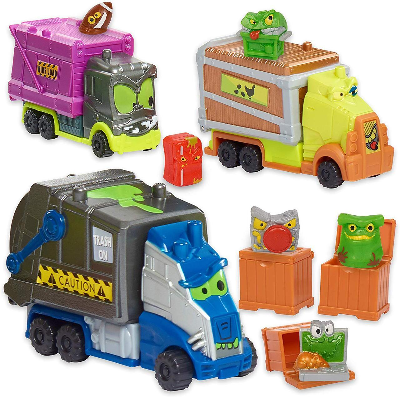 Набор 3 машинки с сюрпризами монстриками Smash Crashers., фото 1
