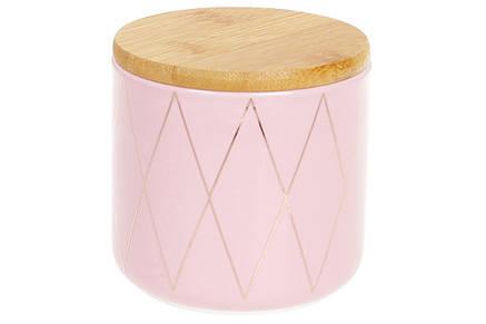 Банку керамічна 350мл з бамбуковою кришкою Ромби, 9см, колір - рожевий з золотом, 304-918, фото 2