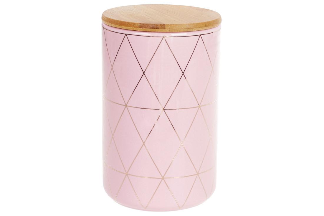 Банка керамическая 850мл с бамбуковой крышкой Ромбы, 16см, цвет - розовый с золотом, 304-910