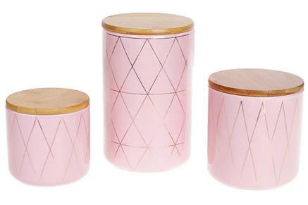 Банка керамическая 850мл с бамбуковой крышкой Ромбы, 16см, цвет - розовый с золотом, 304-910, фото 2