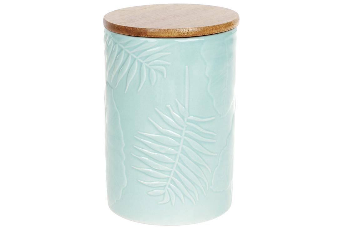Банка керамическая 800мл с бамбуковой крышкой Тропикана,15см, цвет - лазурный голубой, 304-908