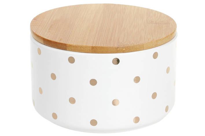 Банку керамічна 800мл з бамбуковою кришкою Горохи, 14см, колір - білий з золотом, 304-919, фото 2