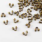 Зажимы Протектор для Проволоки, Латунь, Цвет: Бронза, Размер: 5х6мм, Толщина 2мм, Отв-тие 1.5мм, около 80шт/5г, (УТ0030294)