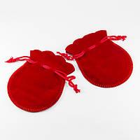 Мешочек для Ювелирных Украшений, Бархат, Цвет: Красный, Размер: 90х70мм, (УТ100005475)