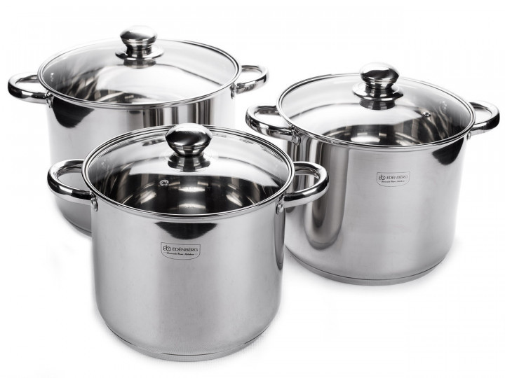 Набор больших кастрюль из нержавеющей стали Edenberg EB-525 6 предметов|Набор посуды