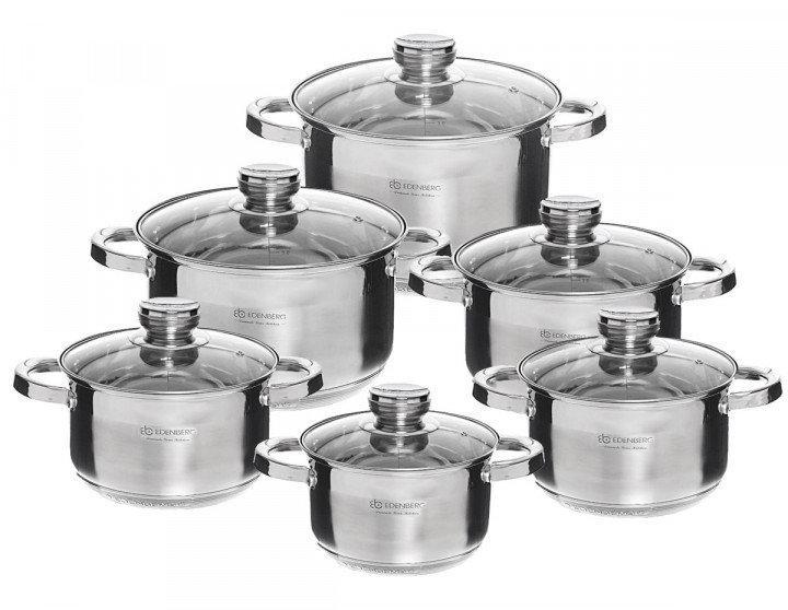 Уникальный набор посуды из нержавеющей стали, 9 слойное дно EDENBERG EB-4011 12 предметов