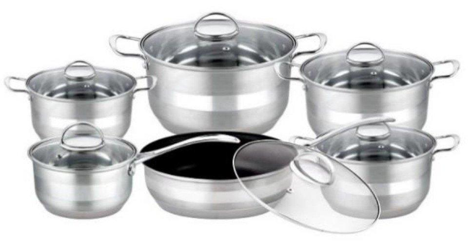 Уникальный набор посуды из нержавеющей стали, 9 слойное дно Edenberg EB-3732 12 предметов