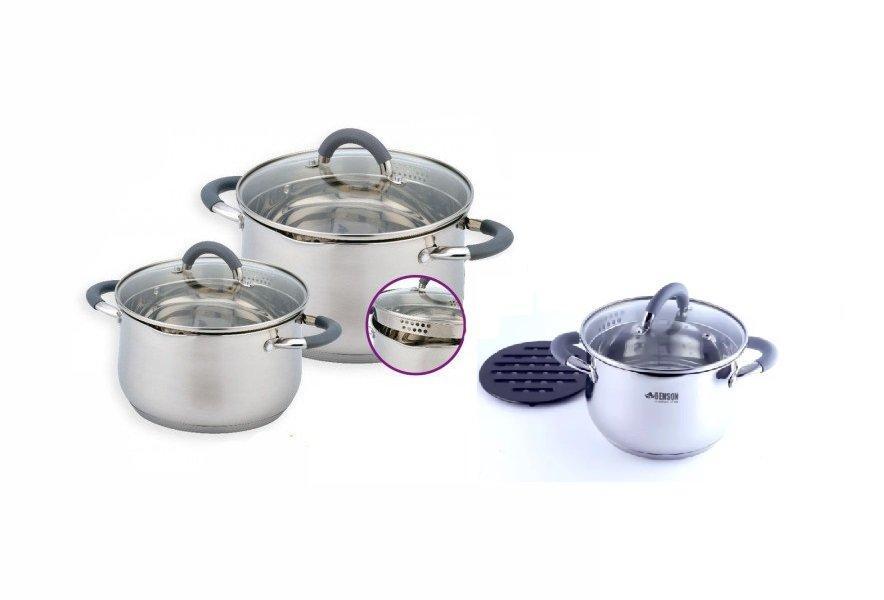 Уникальный набор посуды из нержавеющей стали, 5-слойное дно Benson BN-238 7 предметов