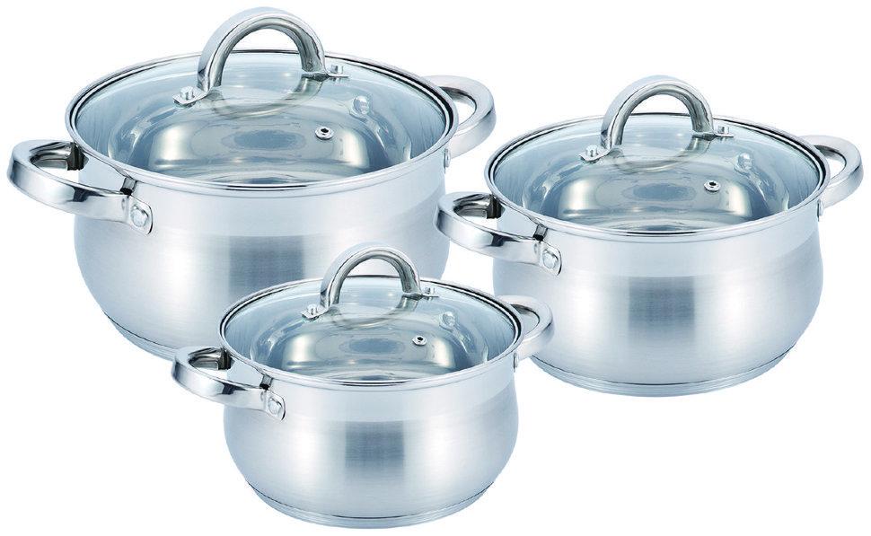 Набор кастрюль из нержавеющей стали Benson BN-232 6 предметов|кухонная посуда