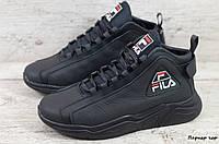 Мужские кожаные зимние кроссовки Fila (Реплика) (Код: Паркер чер  ) ►Размеры [40,41,42,43,44,45], фото 1
