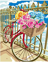 Картина по номерам Велосепед в цветах, 40x50 см., Brushme
