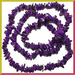 Сколы Ракушки Фиолетового Цвета с Перламутром, Размер: 4-12*2-6 мм., Отв. 1 мм., около 85 см./нить.