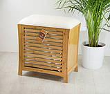 Деревянная одноместная тумбочка-сиденье ASPECT OT35 53 x 35 x 58 см для ванной комнаты и гостинной, фото 2