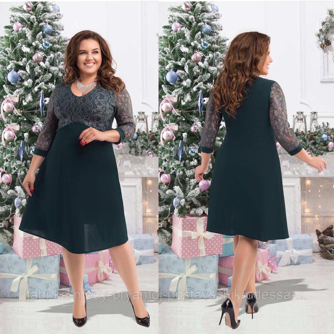 Женское  нарядное платье размер 50-56 СВ2702зеленый