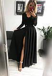 Платье женское Лиана вечернее длинное в пол  с гипюровым рукавом, фото 5