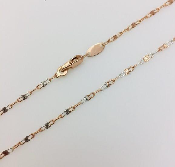 Цепочка плетение Фантазийнное, ширина 2 мм, длина 50 см, позолота+ родий
