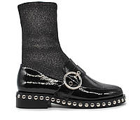 Женские натуральные кожаные лаковые демисезонные черные Fashion ботинки на толстой подошве / каблук Польша