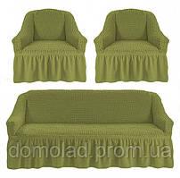 Чехлы на Диван и 2 Кресла с Оборкой Универсальный Размер Набор 228