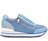 Женские натуральные кожаные демисезонные голубые кроссовки с молнией и шнурками низкий ход Польша