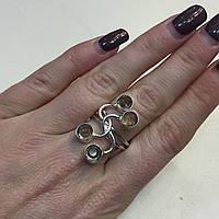Кольцо с раух-топазом дымчатый кварц в серебре 18.5 размер. Кольцо с камнем раух-топаз Индия
