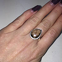 Кольцо с раух-топазом капля дымчатый кварц в серебре 17.7 размер. Кольцо с камнем раух-топаз Индия