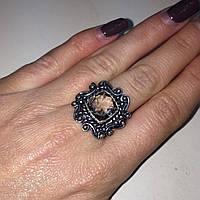 Кольцо с раух-топазом квадрат дымчатый кварц в серебре 18.5 размер. Кольцо с камнем раух-топаз Индия