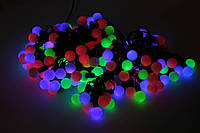Новогодняя гирлянда Multi Ball Бахрома 2х2м диам. 20мм 120 шариков RGB чёрн. шнур (20847)