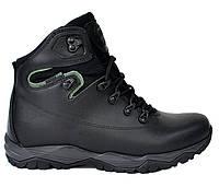 Мужские демисезонные кожаные черные ботинки спортивные на шнуровке Турция