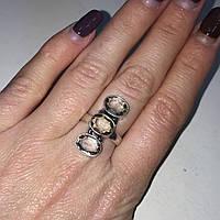 Кольцо с раух-топазом дымчатый кварц в серебре 17 размер. Кольцо с камнем раух-топаз Индия