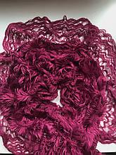 Ажурный шарф кружевной вязки травка цвет  малиново-бордовый
