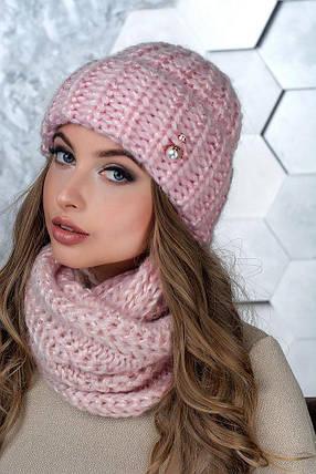 Комплект (шапка и снуд-хомут) Flirt Манго One Size розовая пудра1015, фото 2