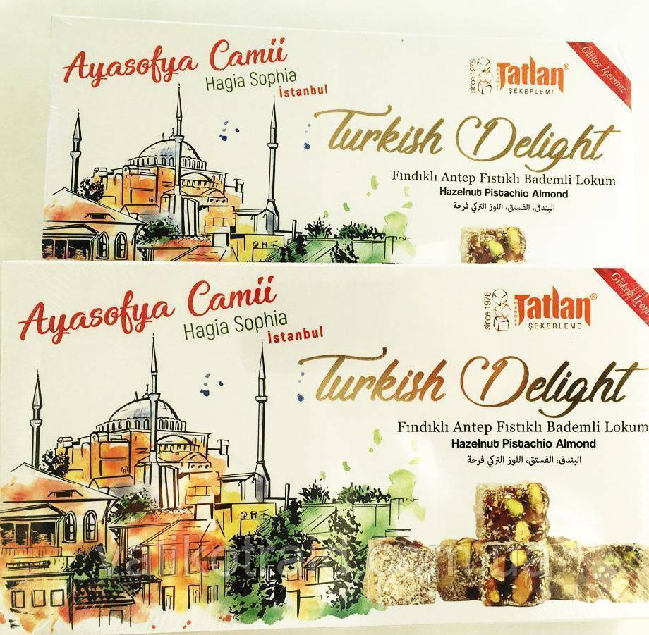 Рахат лукум  с орехом фундука  и фисташки  TATLAN , 330 гр, турецкие сладости