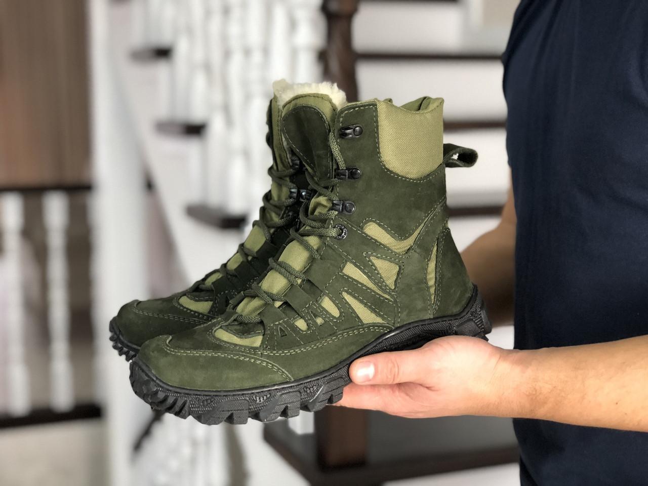 Чоловічі черевики-берці натуральна шкіра нубук зелені