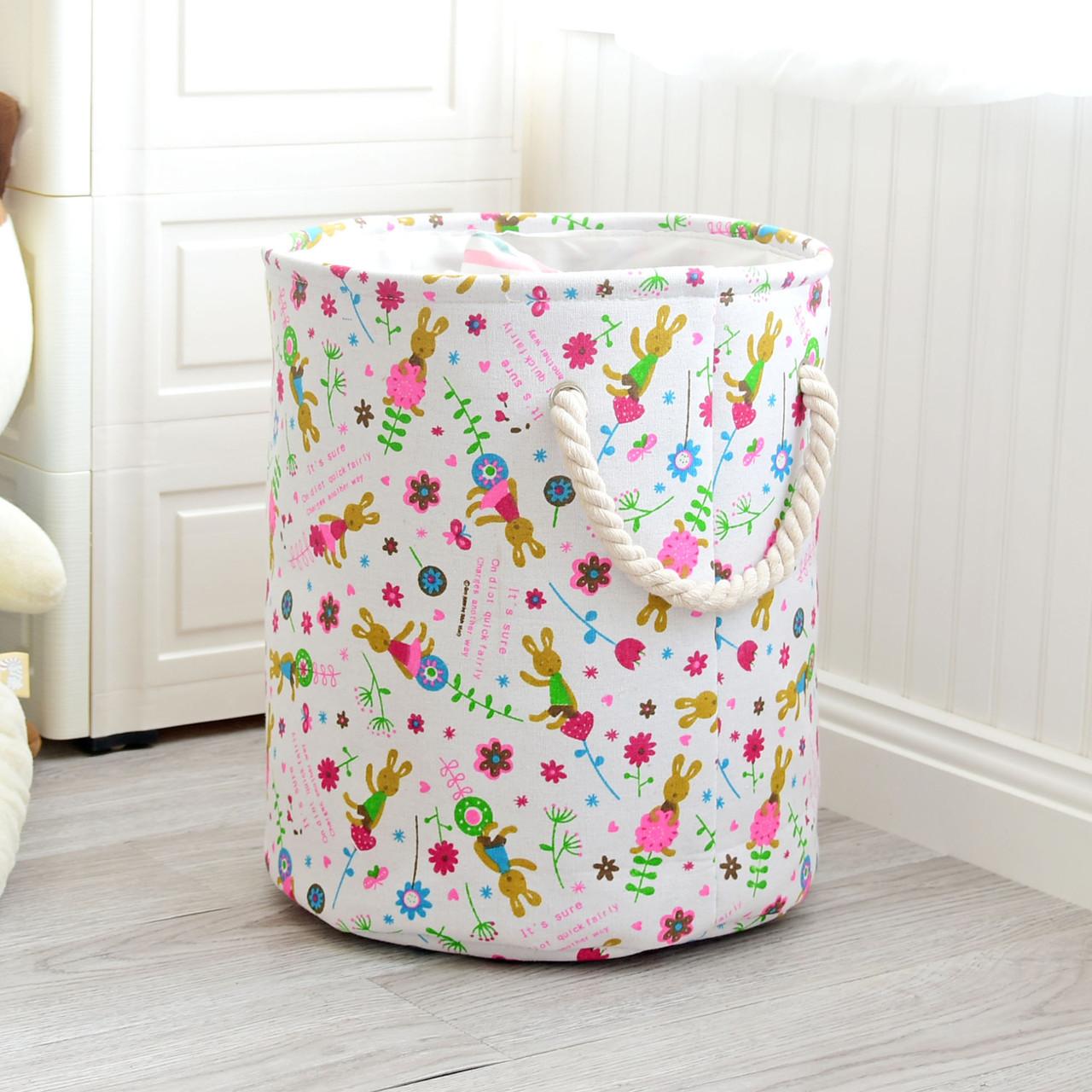Круглая текстильная корзина с ручками для игрушек, белья, хранения Зайчики Berni 40 х 35 см (48532)