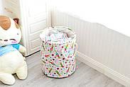 Круглая текстильная корзина с ручками для игрушек, белья, хранения Зайчики Berni 40 х 35 см (48532), фото 2