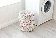 Круглая текстильная корзина с ручками для игрушек, белья, хранения Зайчики Berni 40 х 35 см (48532), фото 3