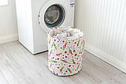 Круглая текстильная корзина с ручками для игрушек, белья, хранения Зайчики Berni 40 х 35 см (48532), фото 4