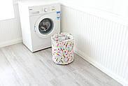 Круглая текстильная корзина с ручками для игрушек, белья, хранения Зайчики Berni 40 х 35 см (48532), фото 5