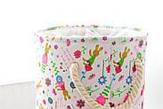 Круглая текстильная корзина с ручками для игрушек, белья, хранения Зайчики Berni 40 х 35 см (48532), фото 6