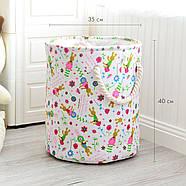 Круглая текстильная корзина с ручками для игрушек, белья, хранения Зайчики Berni 40 х 35 см (48532), фото 7