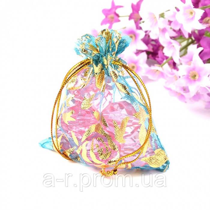 Подарочный Мешочек из органзы, Прозрачный, с Рисунком, Цвет: Циан, Размер: 9x7см, (УТ100010935)