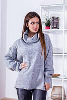 Женский зимний теплый свитер оверсайз шерсть голубой оранжевый серый зелёный 42-48, фото 1